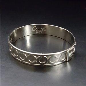 Authentic silver-toned coach bangle bracelet